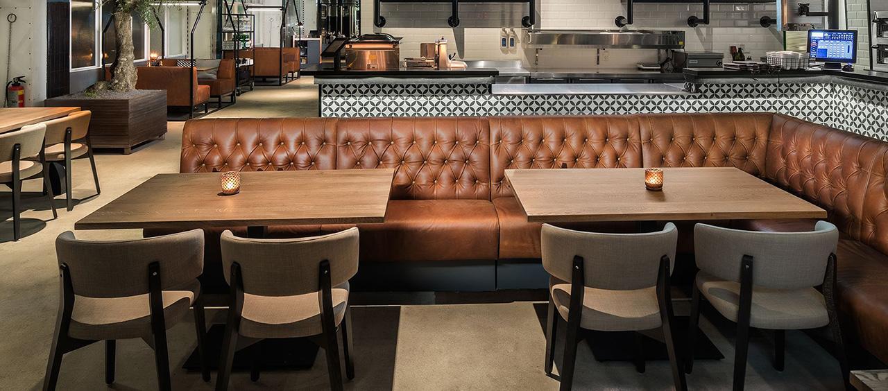 фото интерьера ткани искусственная кожа в кафе, ресторан, отель HoReCa