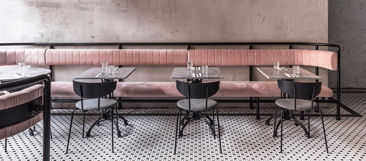 фото интерьера ткани велюр в кафе, ресторан, отель HoReCa
